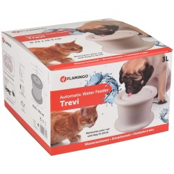 Flamingo Pet Products Wasserbrunnen 3 Liter, TREVI, für Hunde und Katzen, weiße Farbe. FL-517943 Springbrunnen