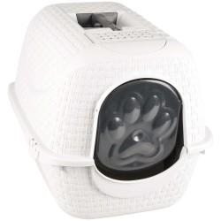 Bama pet Privé 41,8 X 50,5 X H 39,6 cm blanche en aspect rotin .Maison de toilette pour chat FL-560613 Maison de toilette