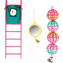 Bird toy mirror ball and ladder Flamingo toys FL-100318