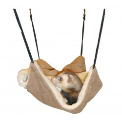 Flamingo Pet Products Hammock with hiding place, brown suede. 30 x 26 cm. For ferrets. Beds, hammocks, nesters