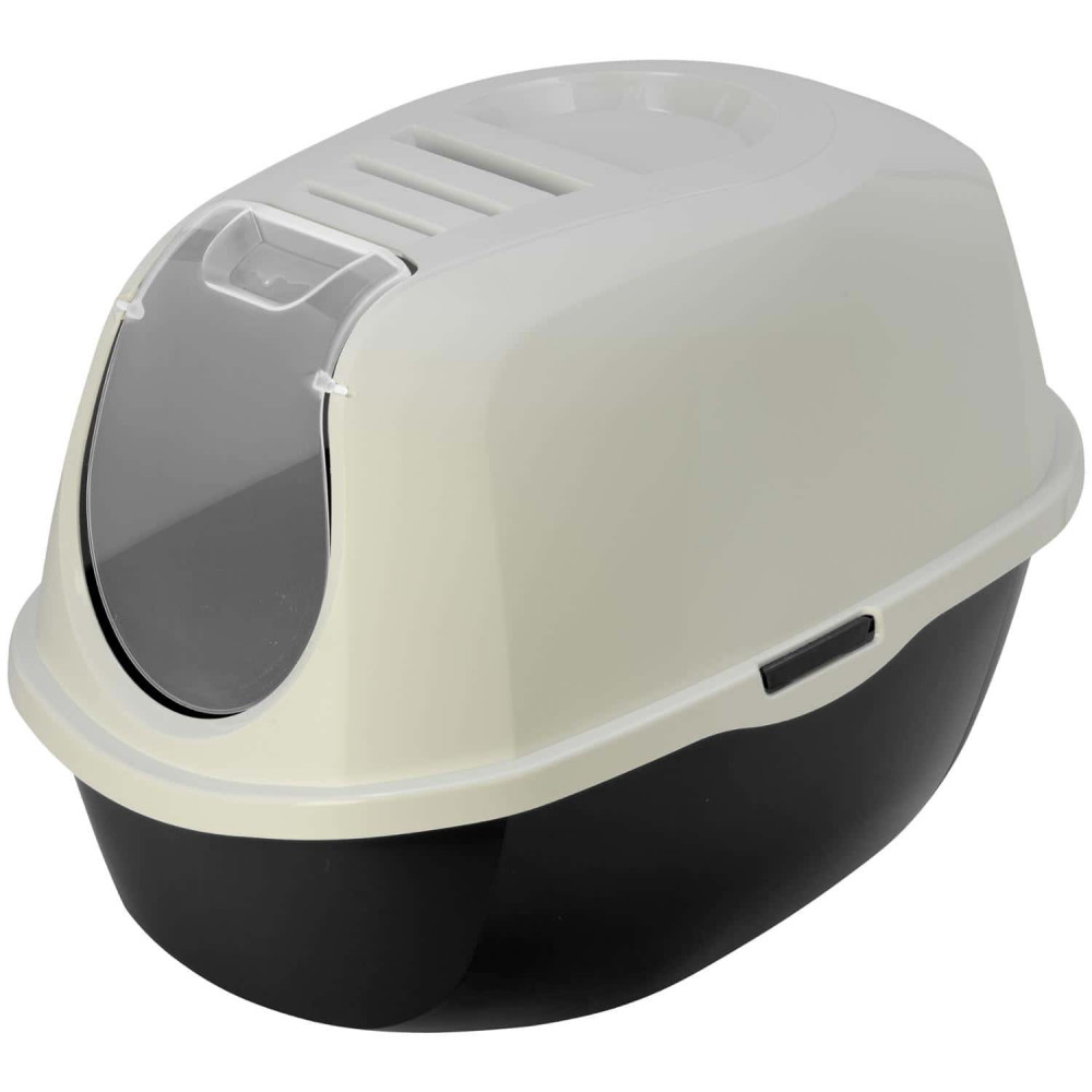Maison de toilette Plato noir et blanc L 39 x 55 x 41 cm pour chat Maison de toilette Flamingo FL-560725