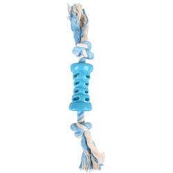 Flamingo Jouet Tube + corde bleu. 35 cm. LINDO. en TPR. pour chien. FL-519498 Jouet
