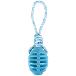 Jouet Rugby + corde à tirer bleu 30.5 cm Rudo TPR pour chien Jouet Flamingo FL-519500