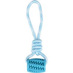 Tubo + cuerda de tracción azul 26 cm Rudo TPR para perro Flamingo juguete FL-519501
