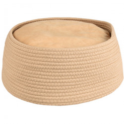 Basket + round cushion Hebe ø 33 x 15 cm beige color for cat Flamingo Sleeping FL-560827